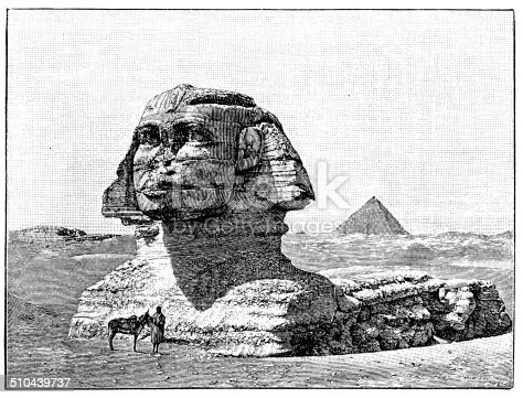 Antique illustration of Great Sphinx of Giza