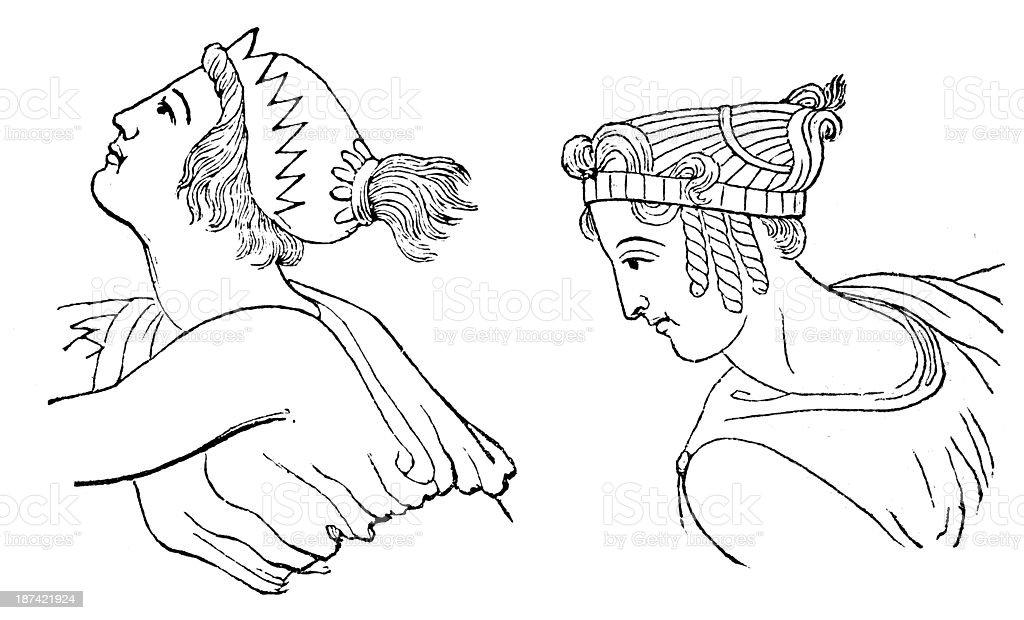 Antikes Illustration Von Griechischen Frisur Stock Vektor Art Und