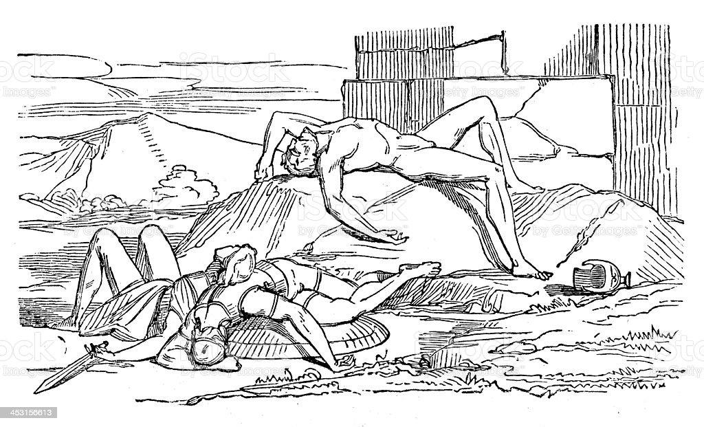 Antique illustration of Greek mythological figures (series 16 engravings) vector art illustration