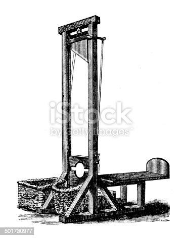 Antique illustration of guillotine