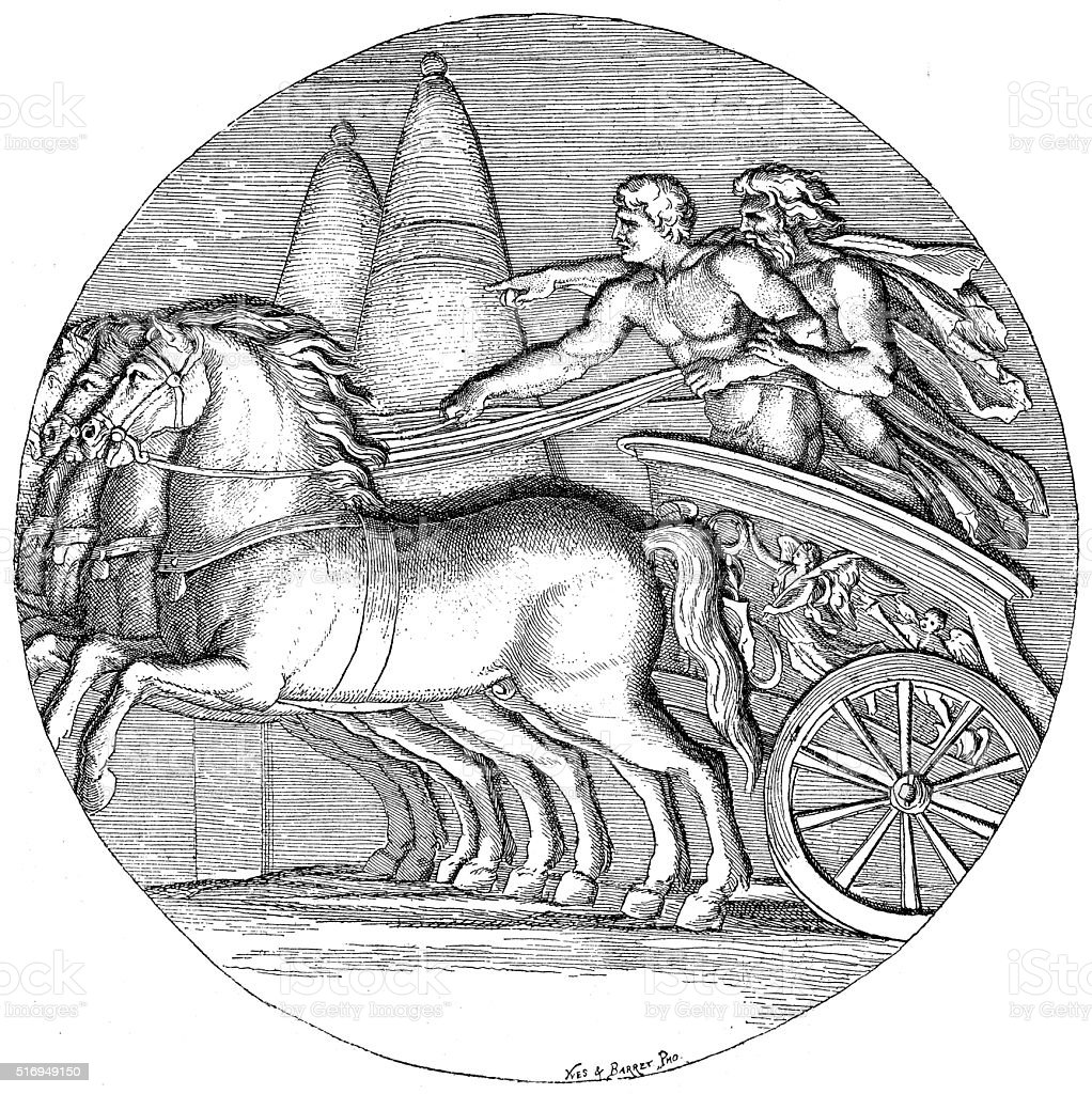 Antique illustration of Heracles driving the Sun chariot vector art illustration