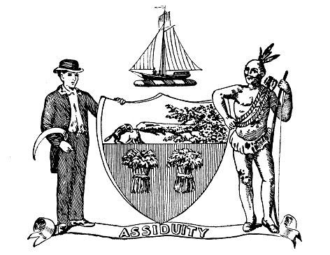 Antique illustration of historic towns of the middle States: Albany, Seal