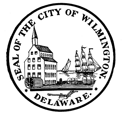 Antique illustration of historic towns of the middle States: Wilmington, City seal