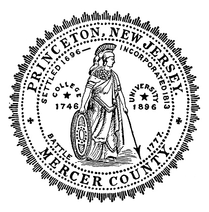 Antique illustration of historic towns of the middle States: Princeton, Town Seal