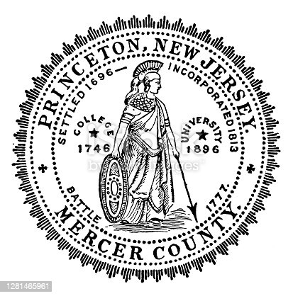 istock Antique illustration of historic towns of the middle States: Princeton, Town Seal 1281465961