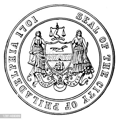 istock Antique illustration of historic towns of the middle States: Philadelphia, Seal of the city 1281469069