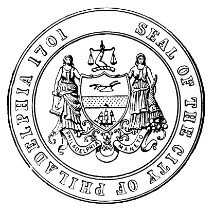 Antique illustration of historic towns of the middle States: Philadelphia, Seal of the city
