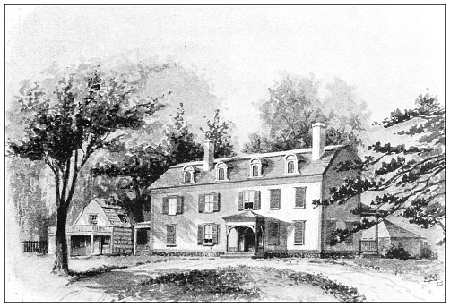 Antique illustration of historic towns of the middle States: Tarrytown, Old Manor House