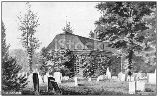 istock Antique illustration of historic towns of the middle States: Tarrytown, Old Dutch Church, Sleepy Hollow 1281458108