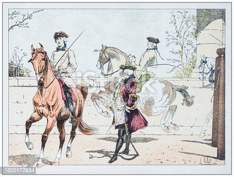 istock Antique illustration of horse, knight and cavalry 1320172634