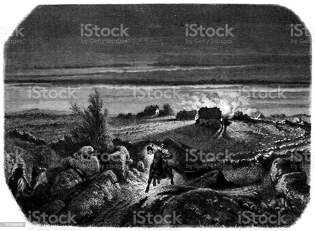 Antique illustration of horse rider at night during fire royalty-free stock vector art