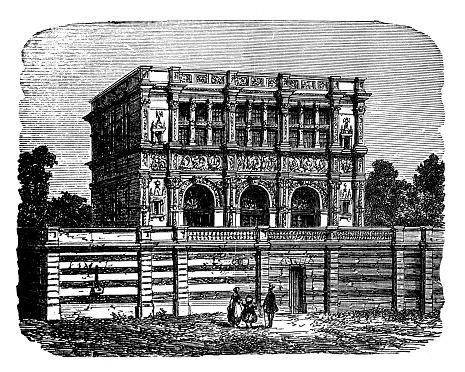 Antique illustration of hôtel de Chabouillé File (Moret-sur-Loing, France)