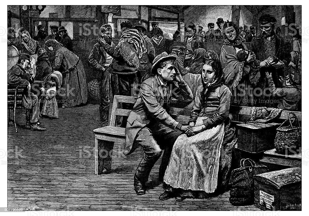 Antique illustration of immigrants in New York vector art illustration