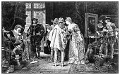 Antique illustration of important people of the past: Connoisseurs at Rembrandt's Studio