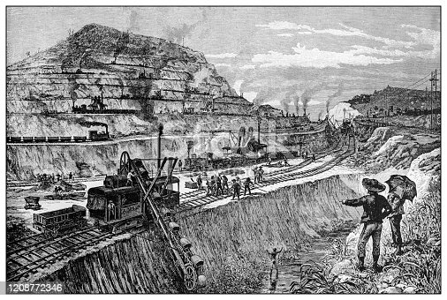Antique illustration of important people of the past: Cutting the canal at Panama