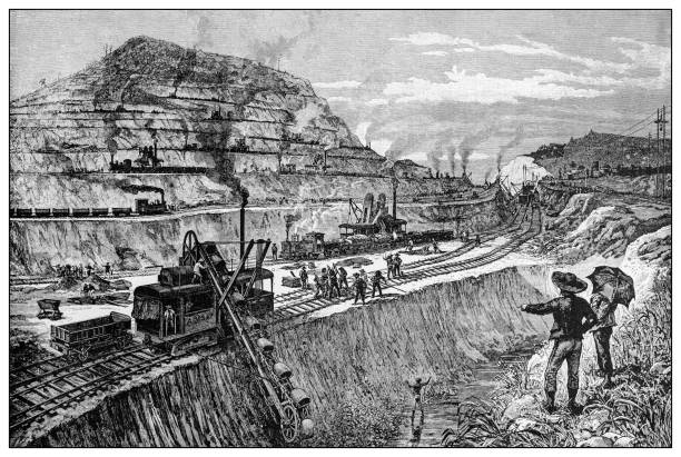 Antique illustration of important people of the past: Cutting the canal at Panama vector art illustration
