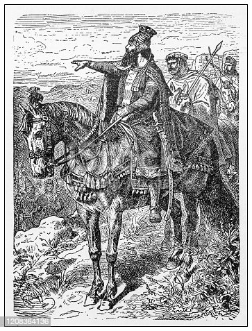 Antique illustration of important people of the past: Cyrus the Great