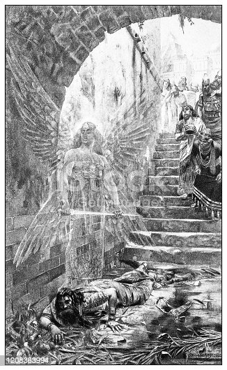 Antique illustration of important people of the past: death of Nebuchadnezzar