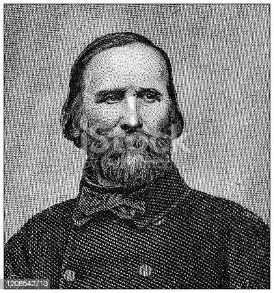 Antique illustration of important people of the past: Giuseppe Garibaldi