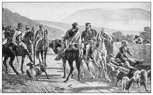 Antique illustration of important people of the past: Giuseppe Garibaldi meets King Vittorio Emanuele