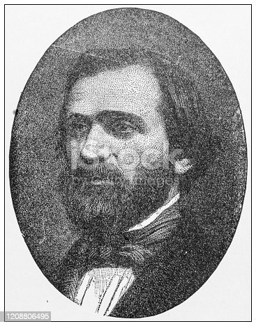 Antique illustration of important people of the past: Giuseppe Verdi