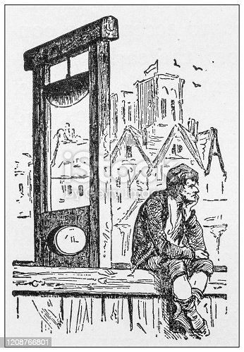 Antique illustration of important people of the past: Guillotine