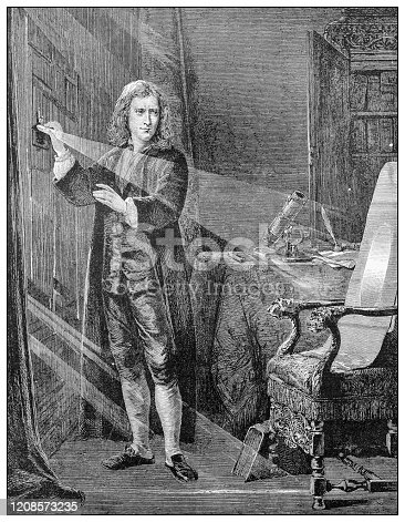 Antique illustration of important people of the past: Isaac Newton analysing the ray of light