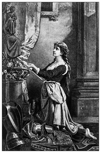 Antique illustration of important people of the past: Joan of Arc
