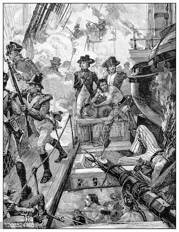 Antique illustration of important people of the past: Lord Horatio Nelson at Trafalgar