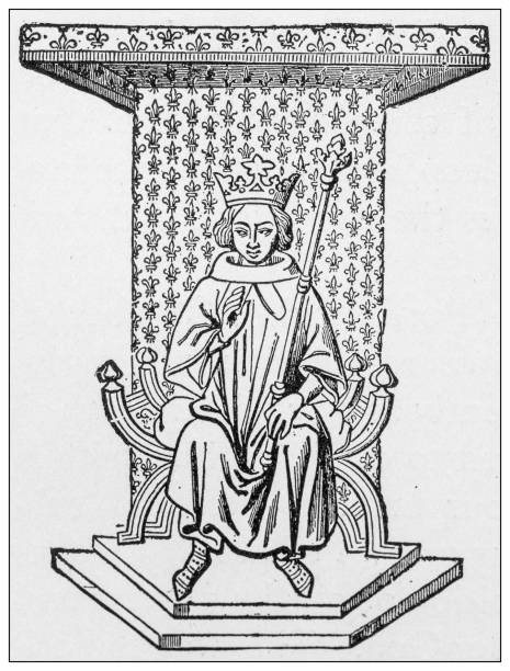 antique illustration of important people of the past: louis ix - st louis stock illustrations