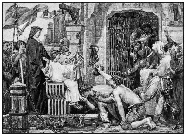 antique illustration of important people of the past: louis ix open the jails of france - st louis stock illustrations