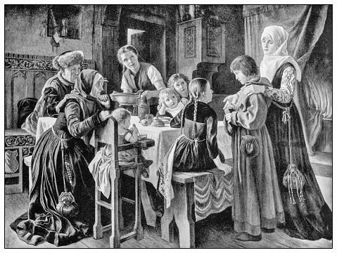 Antique illustration of important people of the past: Martin Luther introduced to the house of Frau Cotta