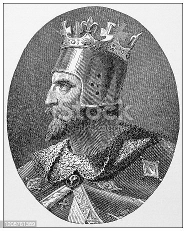 istock Antique illustration of important people of the past: Richard coeur de lion, Richard I 1208761389