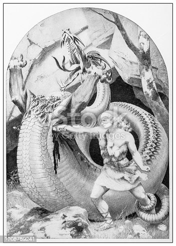 Antique illustration of important people of the past: Siegfried slaying the dragon