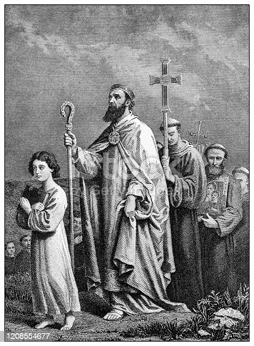 istock Antique illustration of important people of the past: St Patrick journeying to Tara 1208554677