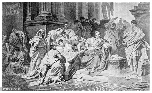 Antique illustration of important people of the past: The Ides of March