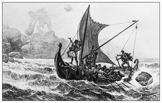 Antique illustration of important people of the past: Ulysses defying the Cyclops