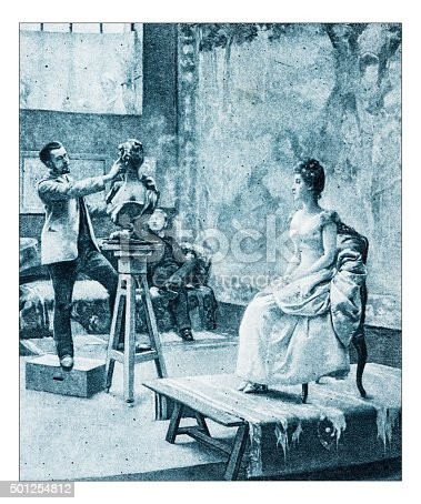 "istock Antique illustration of ""Interieur d'atelier"" by Hautmont 501254812"