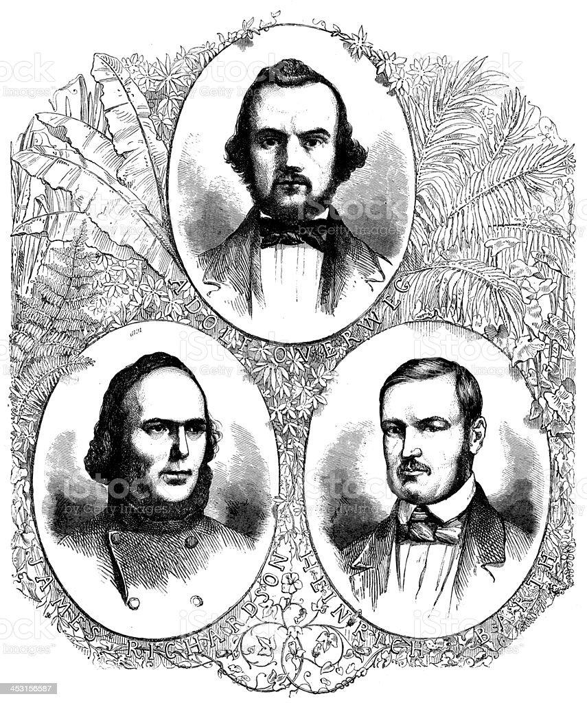 Antique illustration of James richardson, Adolph Overweg, Heinrich Barth vector art illustration