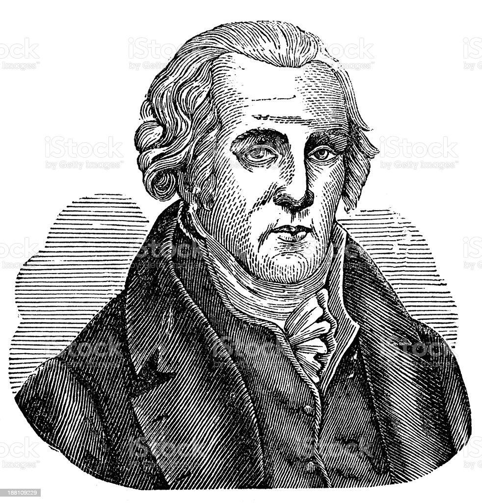 Antique illustration of James Watt vector art illustration