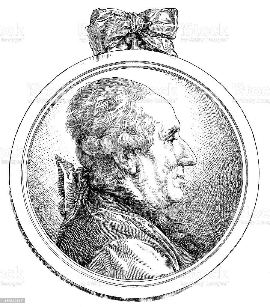 Antique illustration of Jean Baptiste Pigalle royalty-free stock vector art