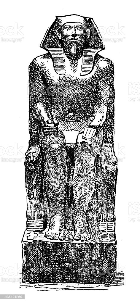Antique illustration of Khafra (Khafre, Khefren, Chephren) vector art illustration