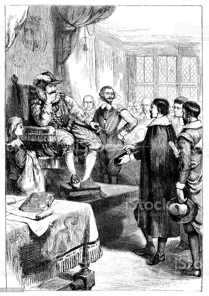 Antique illustration of King James vector art illustration