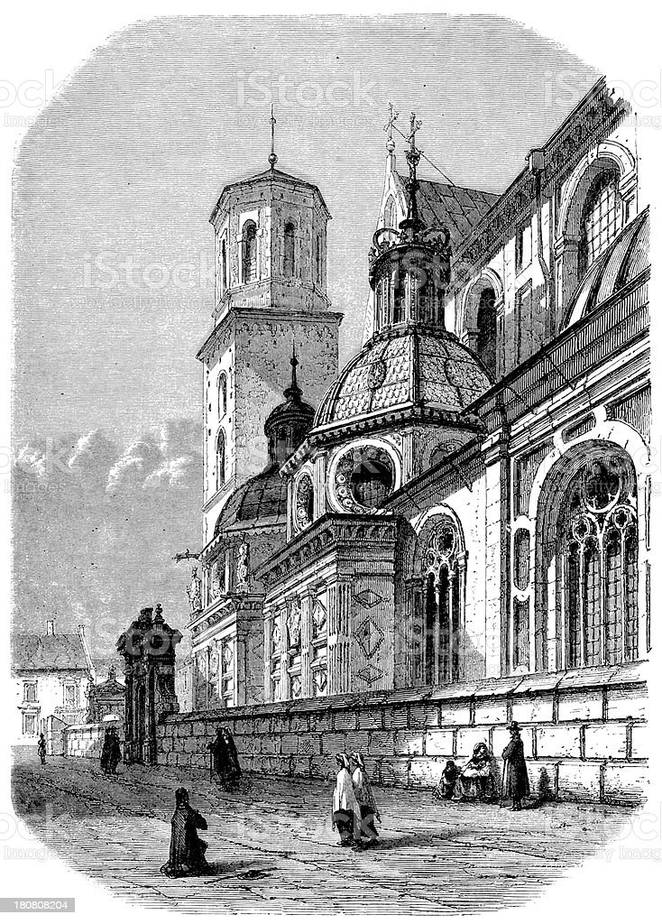 Antique illustration of Krakow cathedral royalty-free stock vector art