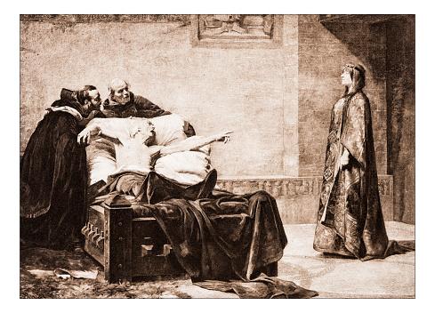 """Antique illustration of """"La morte de l'eveque proetextatus"""" by Bordes"""