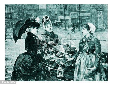 """istock Antique illustration of """"Le premier jour de primtemps"""" by Schryver 500834690"""