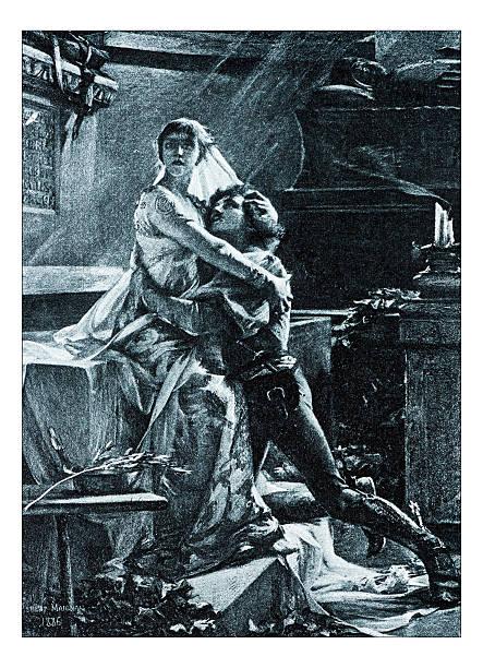 "antique illustration of ""le reveil de juliette"" by maignan - romeo and juliet stock illustrations, clip art, cartoons, & icons"