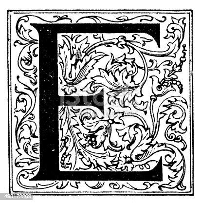 Antique illustration of letter E