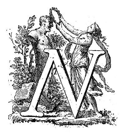Antique illustration of letter N with scene of laurel crowning