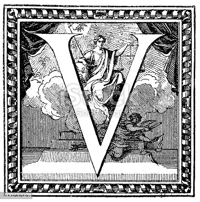 Antique illustration of a capital letter V, illustrated within a decorated frame. Behind the letter, at the centre of it, there is an illustration of a woman, Lady Justice, wearing a classic antique dress, and holding a scale (symbol of justice, equity) and a sword. sitting on a cloud and leaning on a small Earth. At the bottom of the cloud, laying on the steps of a pedestal, there is the Archangel Michael (winged) with sword  and scale. At the top, between two curtains, there is also the Sun (God) irradiating and overlooking the scene. In the background a series of stylized lilies (fleur-de-lis or fleur-de-lys), symbol of the French royal family.